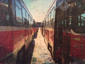 """Streetcar Exterior"", PH1 collective, 24""x36"", encaustic on wood panel"